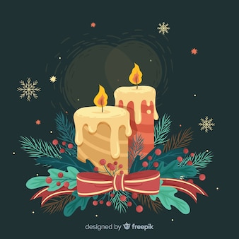 Fond de bougies de noël vintage