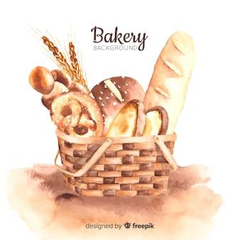Fond de boulangerie aquarelle