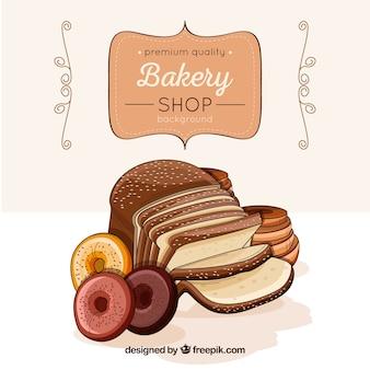 Fond de boulangerie au style dessiné à la main