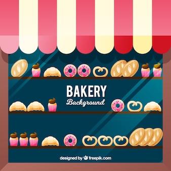 Fond de boulangerie avec des bonbons dans un style plat