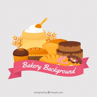 Fond de boulangerie avec des bonbons et du pain