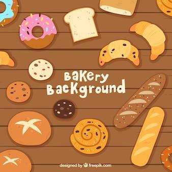 Fond de boulangerie avec des bonbons et style plat breadin