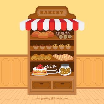 Fond de boulangerie avec des desserts dans un style plat
