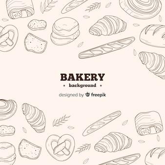 Fond de boulangerie dessiné main réaliste