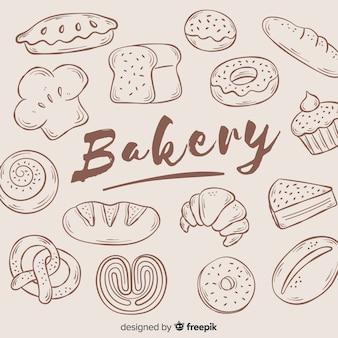 Fond de boulangerie dessiné à la main