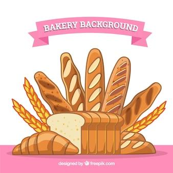 Fond de boulangerie avec du pain et du blé
