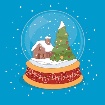 Fond de boule de neige de noël dessinés à la main