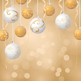 Fond de boules de noël, couleurs dorées et blanches