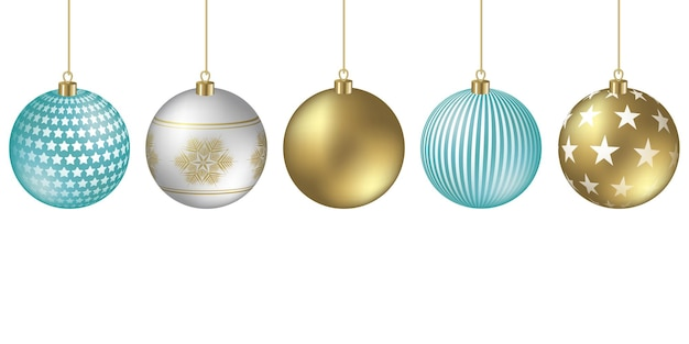Fond de boules de noël avec des ornements festifs de flocons et d'étoiles