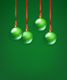 Fond de boules de noël en verre vert mat