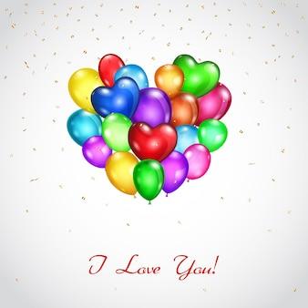 Fond avec bouquet de ballons colorés en forme de coeur et inscription je t'aime