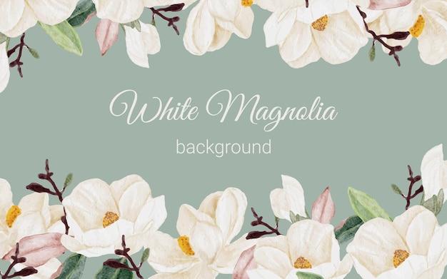 Fond de bouquet de branche de fleur de magnolia aquarelle