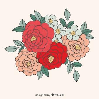 Fond de bouquet dessiné à la main