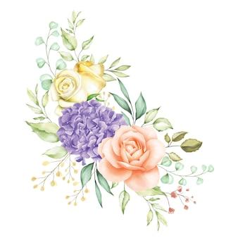Fond de bouquet de fleurs aquarelle