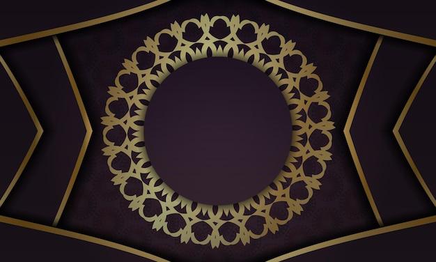 Fond bourgogne avec motif or abstrait pour la conception sous votre logo