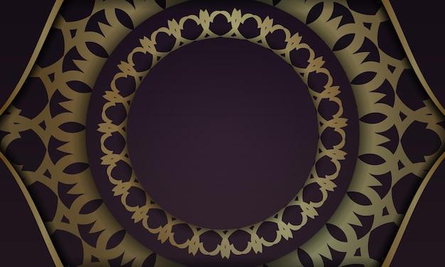 Fond bourgogne avec motif or indien pour le design sous votre logo