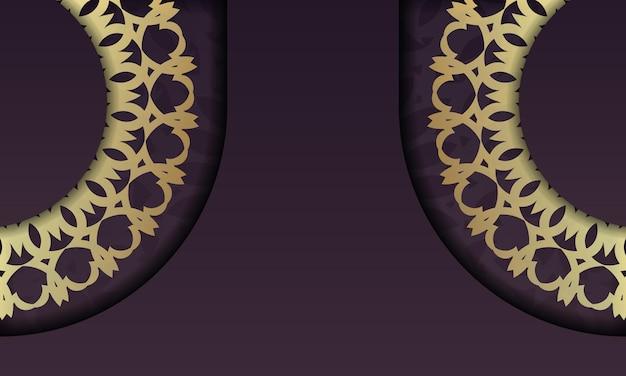 Fond bourgogne avec ornements en or vintage et espace pour votre logo