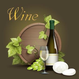Fond de bouteille de vin et baril de chêne
