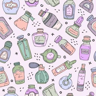 Fond avec des bouteilles de parfum