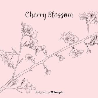 Fond de branche de fleurs de cerisier dessinés à la main