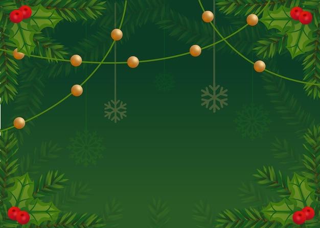 Fond de branches d'arbre de noël au design plat