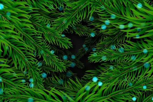 Fond de branches d'arbre de noël réaliste