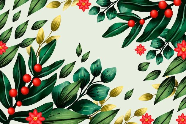 Fond de branches de sapin de noël aquarelle