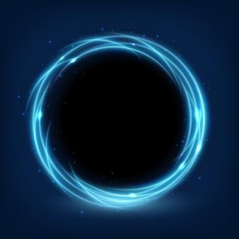 Fond brillant bleu rond