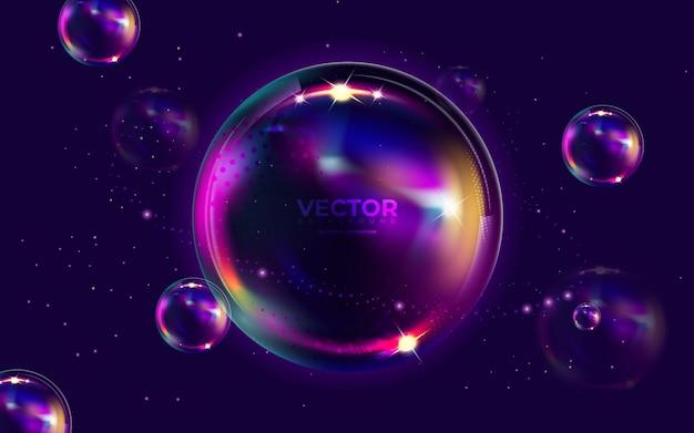 Fond brillant avec des bulles et des étoiles