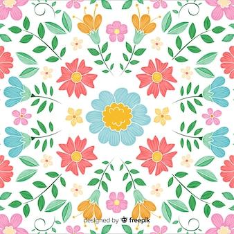 Fond de broderie florale colorée