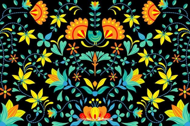 Fond de broderie florale mexicaine
