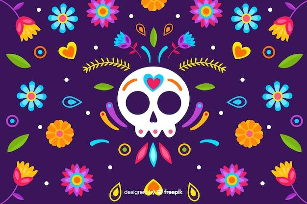 Fond de broderie florale traditionnelle mexicaine