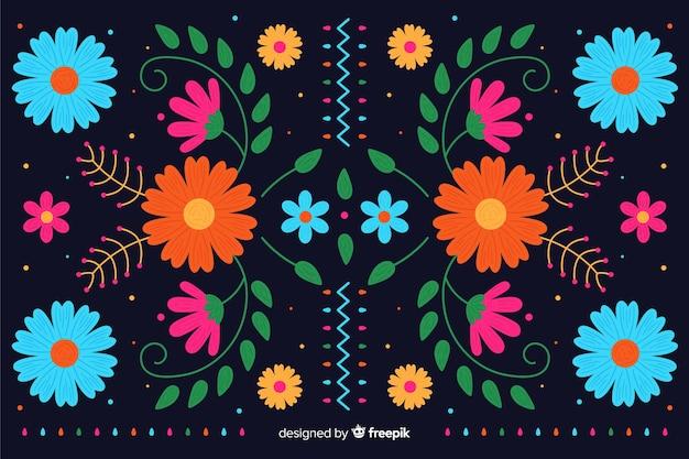 Fond de broderie mexicaine colorée