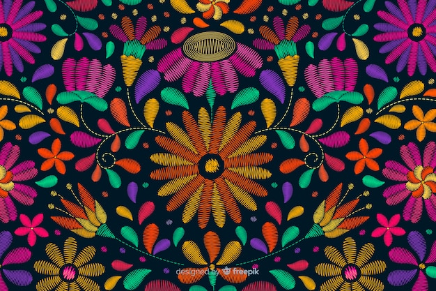 Fond de broderie mexicaine traditionnelle
