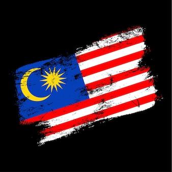 Fond de brosse grunge drapeau malaisie. ancienne illustration vectorielle de brosse drapeau. concept abstrait de fond national.