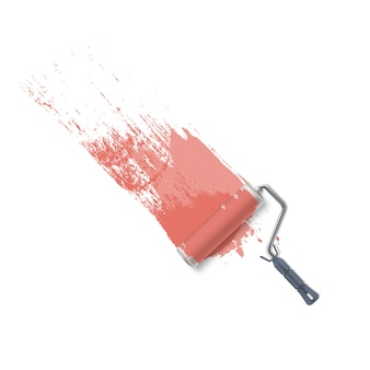 Fond avec brosse à rouleau et peinture rose. peindre le mur.