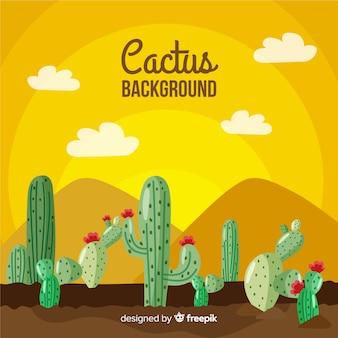 Fond de cactus dessiné à la main