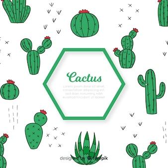 Fond de cactus hexagonal