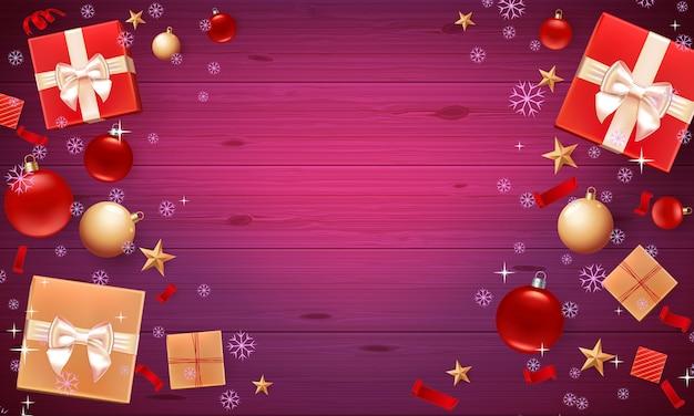 Fond de cadeaux de noël et de décorations