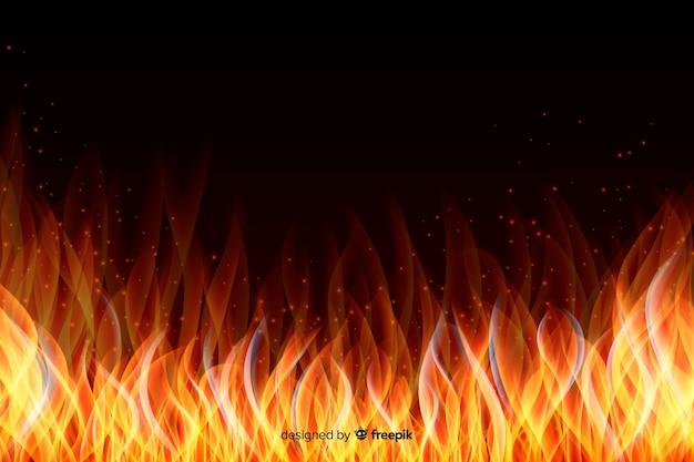 Fond de cadre abstrait flammes réalistes