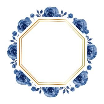 Fond de cadre aquarelle fleur bleue