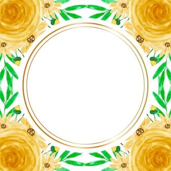 Fond de cadre aquarelle fleur jaune