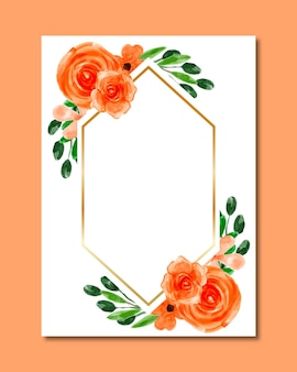 Fond de cadre aquarelle fleur orange