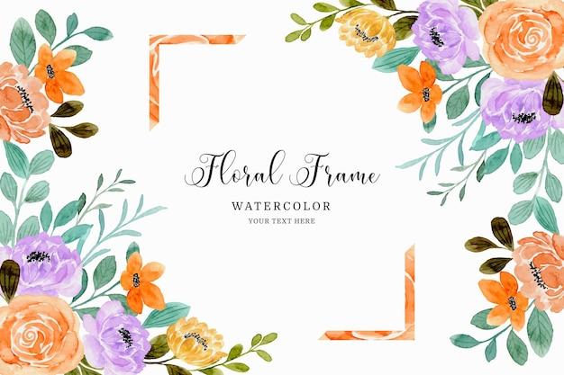 Fond de cadre aquarelle fleur rose orange