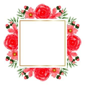 Fond de cadre aquarelle fleur rouge