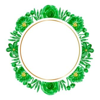 Fond de cadre aquarelle fleur verte