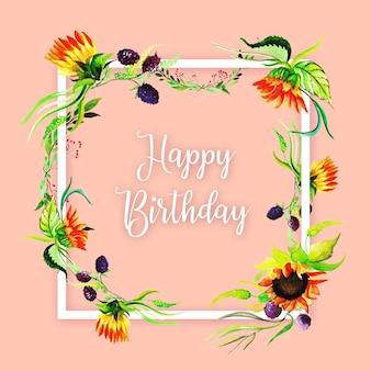 Fond de cadre aquarelle florale joyeux anniversaire