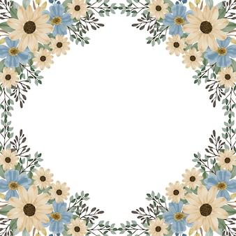 Fond de cadre aquarelle tournesol et fleur bleue