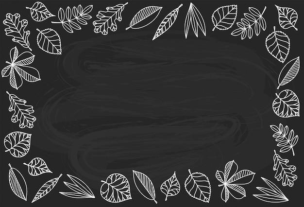 Fond de cadre automne avec lineart de feuilles