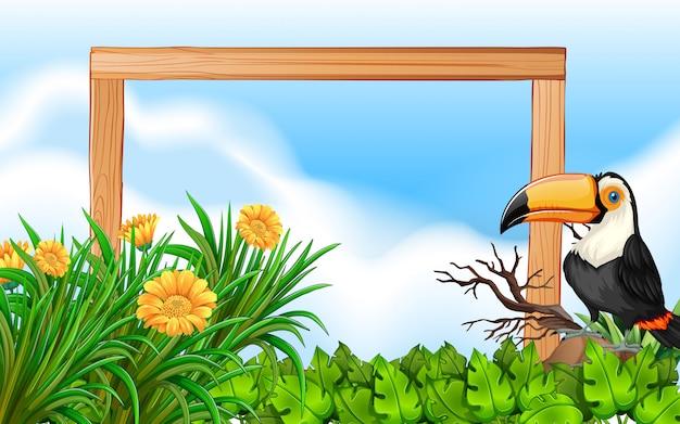 Fond de cadre en bois toucan
